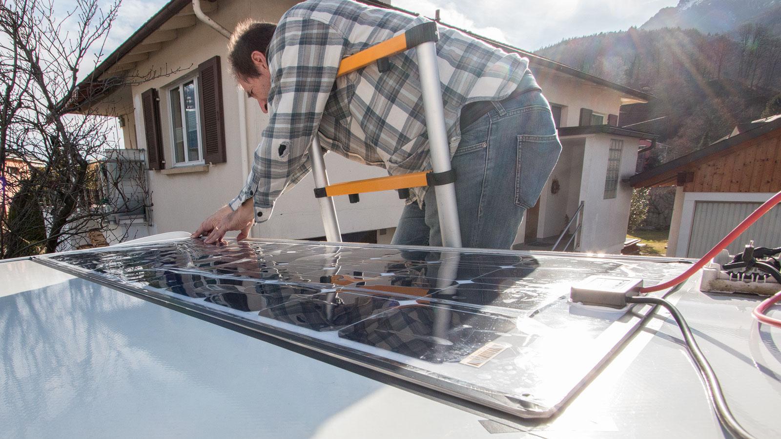 Solarpanels andrücken